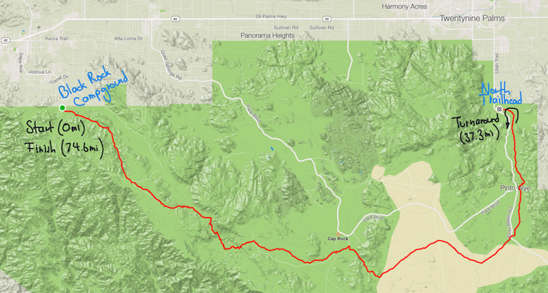 Map of the Joshua Tree traverse.