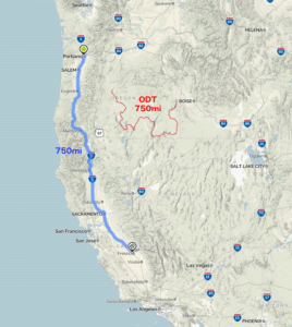 ODT distance comparison. Run the ODT or run on I-5 from Portland to Fresno?